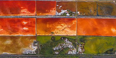 Aerial view of colorful salt lake - p1596m2206398 by Nikola Spasov