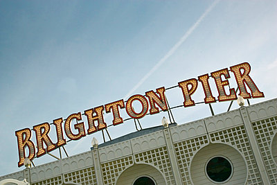 Brighton pier sign, England, United Kingdom - p871m837902 by Tim Graham