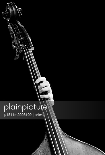 Single hand on contrabass - p1511m2223102 by artwall