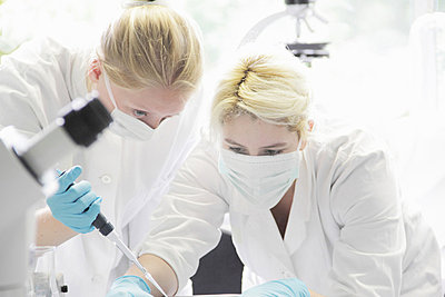 Scientist pipetting liquid in lab - p429m696624 by Sigrid Gombert