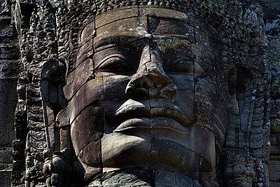 Bayon temple, Angkor, Cambodia; sculpted face - p4428417f by Design Pics