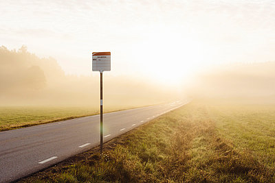 Bus stop at morning, Norrkoping, Ostergotland, Sweden - p575m871902f by Björn Dahlgren