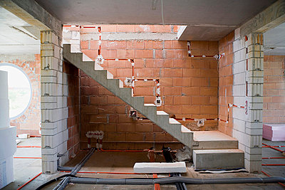 Staircase of a home under construction - p3004828f by Hanno Keppel