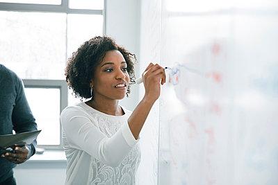 Businesswoman writing on whiteboard in meeting - p555m1504086 by John Fedele