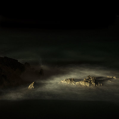 Surf on rocky coast at night, Mallorca - p1624m2222654 by Gabriela Torres Ruiz