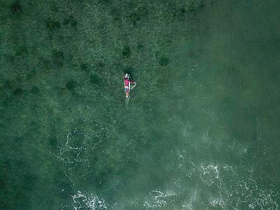 Surfer on surfboard - p1108m2092915 by trubavin