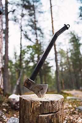 Axe on tree stump - p300m2060892 by Kike Arnaiz