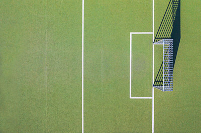 Drone shot of soccer field - p300m2144121 by Michael Malorny
