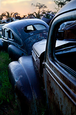 Vintage cars abandoned in scrap yard - p429m875751f by Zero Creatives