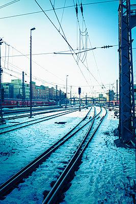 Railway station train tracks snow Vanishing Point - p609m1127631 by WRIGHT