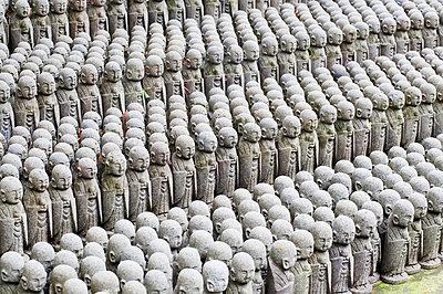 Japan, Kamakura, Hase-Dera Temple, Jizo-Do Hall, Rows Of Jizo Statues Comfort Souls Of Unborn Children. - p442m905559 by Bill Brennan