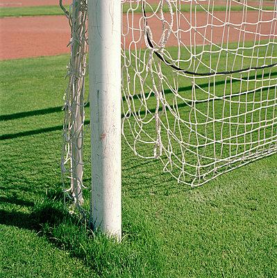 Empty soccer goal - p3014478f by Gwendolyn Plath