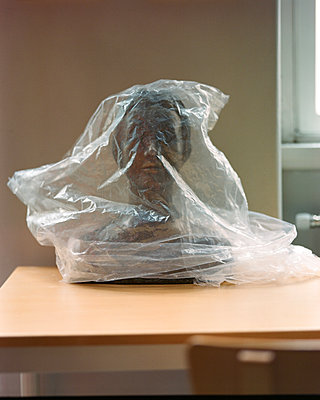 Bust of a woman wrapped in plastic - p1063m2280276 by Ekaterina Vasilyeva