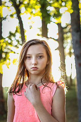 Teenage Girl among Trees - p1019m1487234 by Stephen Carroll