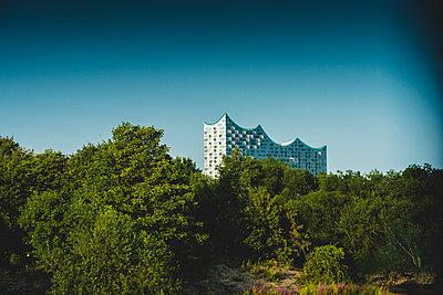 Blick auf Elbphilharmonie, Elphi von Steinwerder, Hamburg - p1493m1584660 von Alexander Mertsch