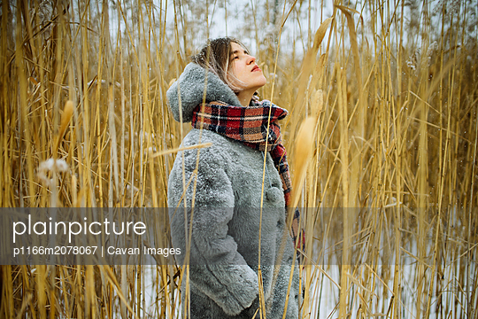 woman in winter stands in dry reeds - p1166m2078067 by Cavan Images