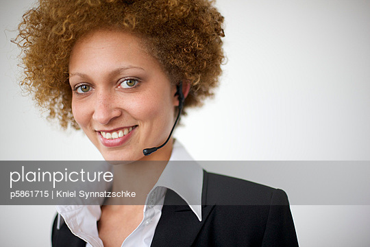 Woman with headphone and microphone