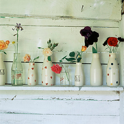 Row of patterned storage bottled lined up on a shelf with flowers placed in them - p349m674515 by Emma Lee
