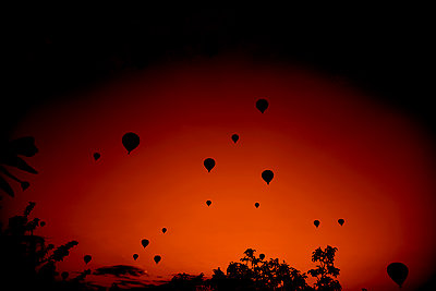 Hot air balloons at sunset - p1695m2290968 by Dusica Paripovic