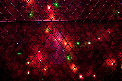 Christmas lights on wire fence - p9240462 by Charles Gullung