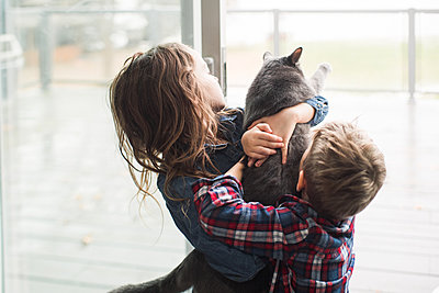 Children playing with cat at home - p924m2074159 by Viara Mileva