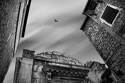 A bird of prey over old buildings - p1445m2150955 by Eugenia Kyriakopoulou