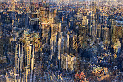 New York City, aerial view, multiple exposure - p1640m2242053 by Holly & John