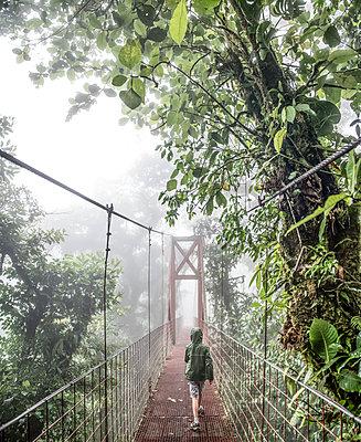 A boy walks across a bridge in the Monteverde Cloud Forest - p1166m2153516 by Cavan Images