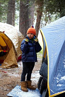 Boy in Snow - p1260m1073046 by Ted Catanzaro
