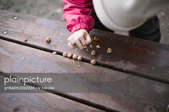 Toddler mincing hazelnuts on a table - p1642m2222224 by V-fokuse