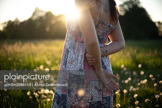 Standing in the meadow in summer - p310m2288113 by Astrid Doerenbruch