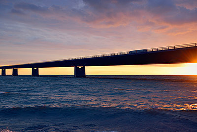 Sunset at the Great Belt Bridge - p715m880669 by Marina Biederbick