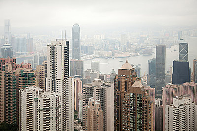 Hong kong, hong kong island, skyscrapers of central district - p9244870f by Image Source