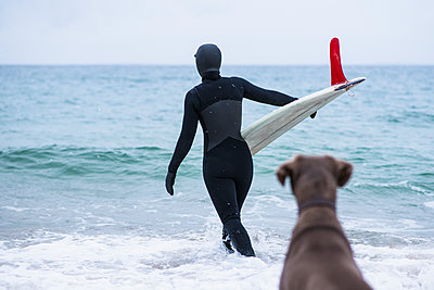 Young woman and her dog going winter surfing in snow - p1166m2177038 by Cavan Images