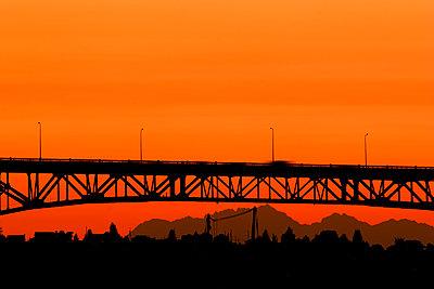 Bridge at sunset in Seattle, Washington - p1427m2110139 by Steve Korn