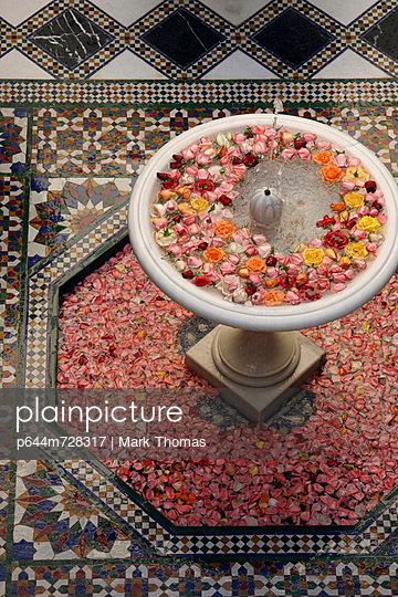 Fountain With Rose Heads In Riad Al Moussika, Pasha's Residence - p644m728317 by Mark Thomas