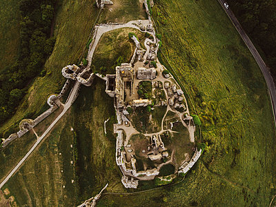 Aerial view, Corfe Castle - p1326m2099836 by kemai