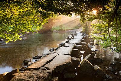 Tarr Steps clapper bridge crossing the River Barle, Exmoor National Park, Somerset, England, United Kingdom, Europe - p871m1048044 by Adam Burton