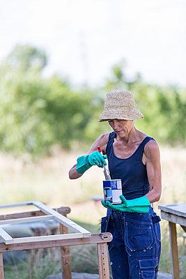 Mature woman painting window - p312m992873f by Ulf Huett Nilsson