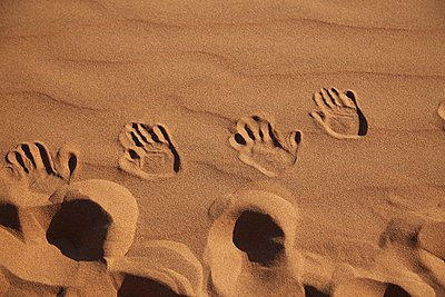 Handprints in sand, Namib Naukluft National Park, Namib Desert, Sossusvlei, Dead Vlei, Africa - p429m1029638 by Stephen Lux