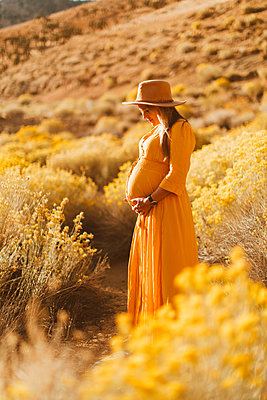 Pregnant woman walking in field landscape, Kennedy Meadows, California, US - p924m2098050 by Peter Amend
