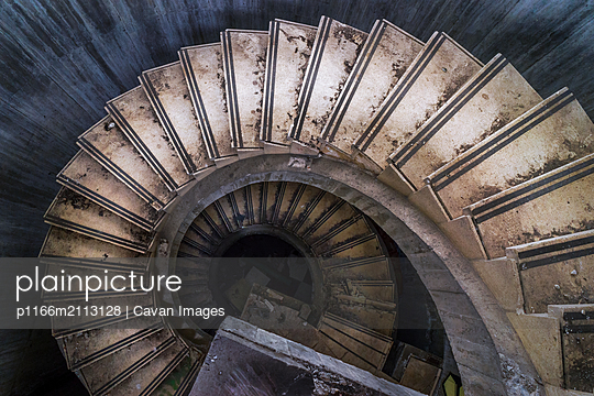 Stairs from building abandoned in Asturias Spain - p1166m2113128 by Cavan Images