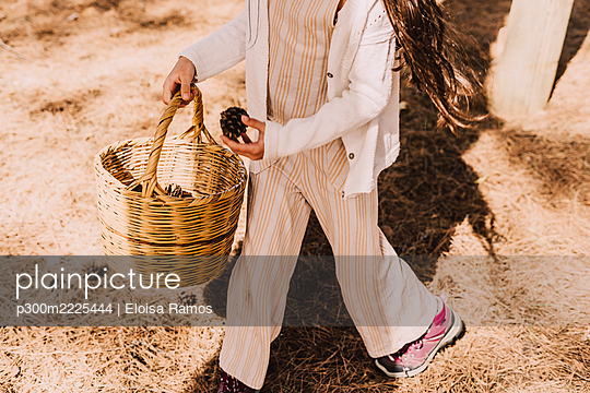 Elementary girl collecting pine cones in wicker basket at park - p300m2225444 by Eloisa Ramos