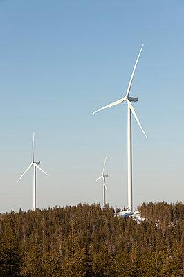 Windkraftanlagen vor blauem Himmel - p1079m1042381 von Ulrich Mertens