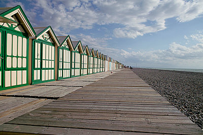 Beach huts on pier - p3882174 by Andre
