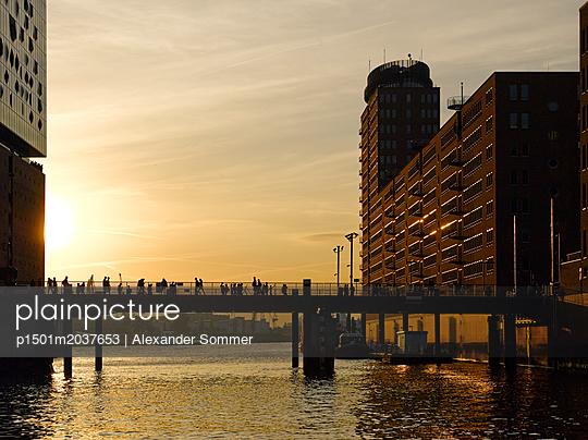 Elbphilharmonie und Mahatma-Gandhi-Brücke in Hamburg - p1501m2037653 von Alexander Sommer