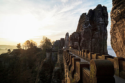 View of Saxon Switzerland National Park at sunset - p30020758f by Fotofeeling