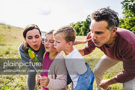 Family blowing pinwheel toy at meadow on sunny day - p300m2294190 by Uwe Umstätter