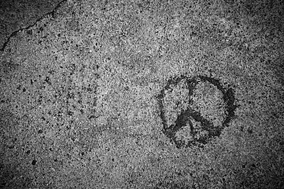 Peace sign carved in a wall - p300m1130177f von Annie Hall