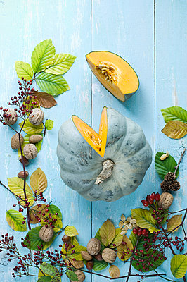 Autumnal arrangement with sliced pumpkin 'Crown Prince', nuts, rosehips and autumn leaves - p300m2078914 von Achim Sass